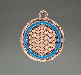 Energy Pendant Copper/Teal Blue with Stones + FREE SHIPPING