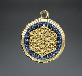 Paul Santisi Energy Pendant Blue/Gold with Stones